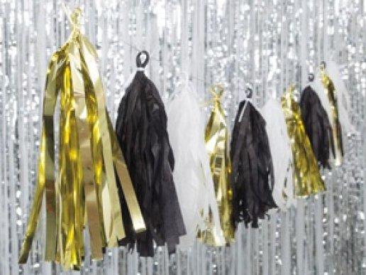 Γιρλάντα Tassel Άσπρο-Χρυσό-Μαύρο
