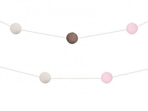 Γιρλάντα Pom Pom Ροζ-Σοκολάτα (2μ)