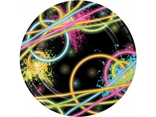 Glow Party Small Paper Plates 8/pcs