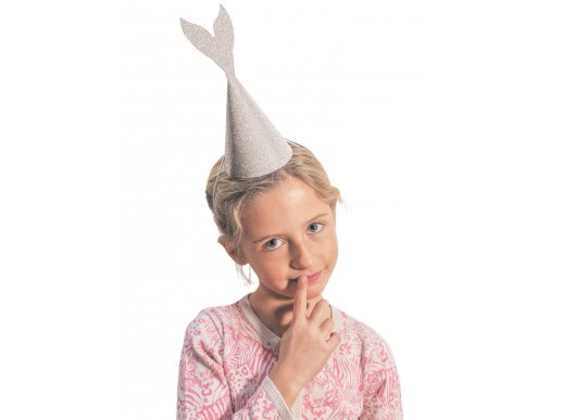 Glitter Party Hats Mermaid in Pink & Silver 6pcs
