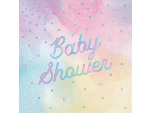 Ιριδίζον Baby Shower Χαρτοπετσέτες Σε Παστέλ Χρώματα 16/Τμχ