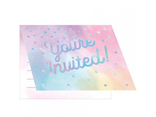 Iridescent You're Invited Invitations With Pastel Colours
