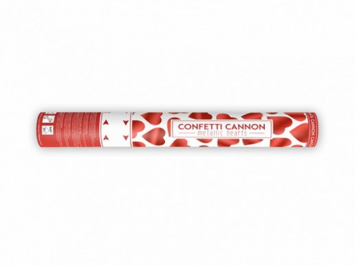 Confetti Cannon with Red Hearts (40cm)