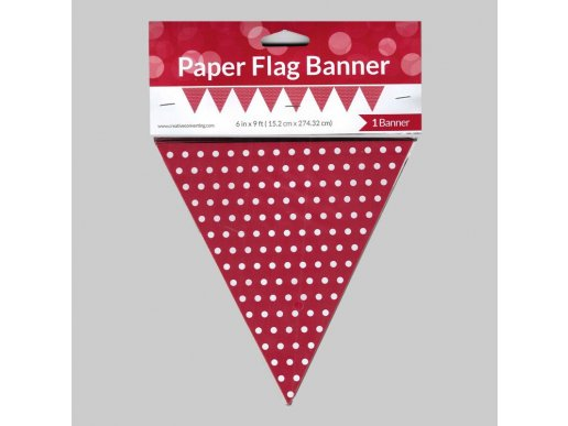 Red paper flag banner with Dots