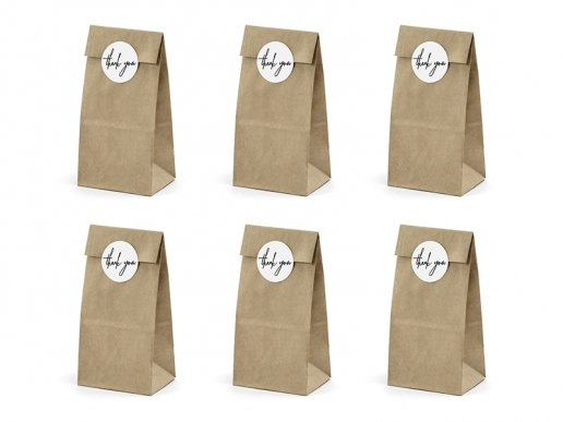 Kraft Paper Bags with Thank you Stickers 6/pcs