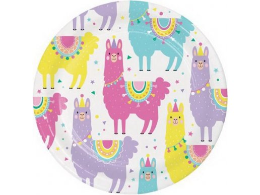 Llama Party Small Paper Plates 8/pcs
