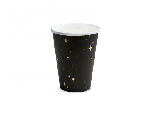 Μαύρα Ποτήρια Χάρτινα Με Χρυσά Αστέρια 6τμχ