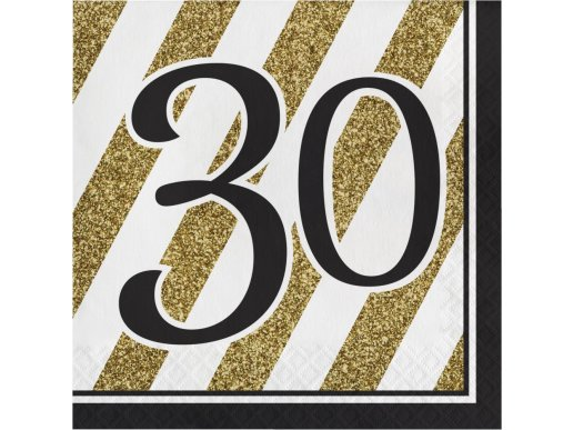 30 Black & Gold Luncheon Napkins 16/pcs