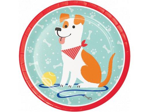 Πάρτυ Με Σκύλους Μεγάλα Χάρτινα Πιάτα (8τμχ)
