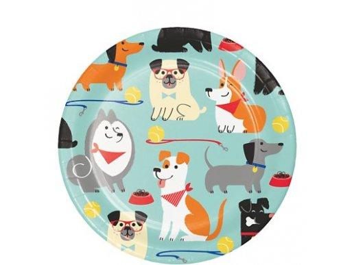 Dog Party Small Paper Plates (8pcs)