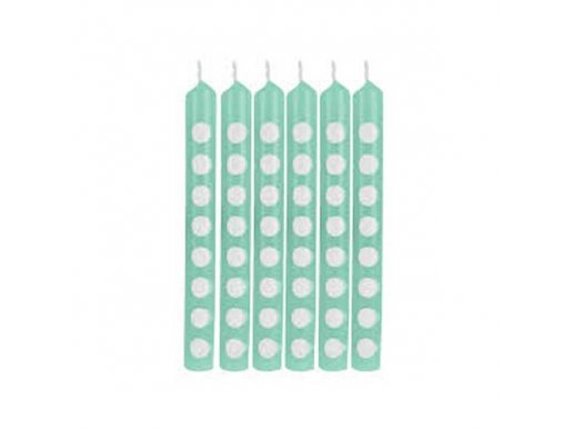 Mint Green Cake Candles with Dots 12/pcs