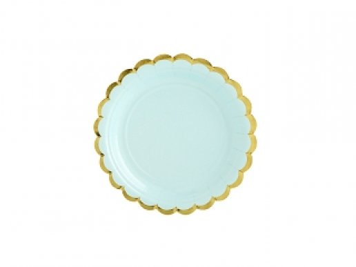 Mint Small Paper Plates with Gold Edge (6pcs)