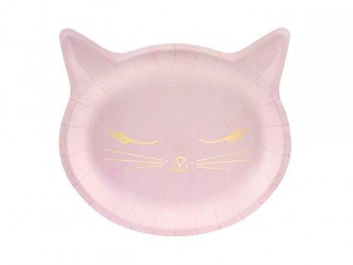 Meow Γατούλες Ροζ Χάρτινα Πιάτα Με Σχήμα 6τμχ