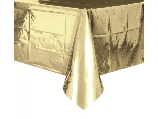 Metallic gold plastic tablecover
