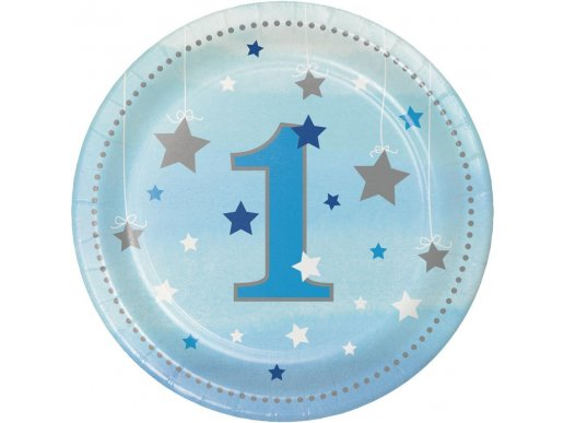 Twinkle Little Star Blue Small Paper Plates for First Birthday (8pcs)
