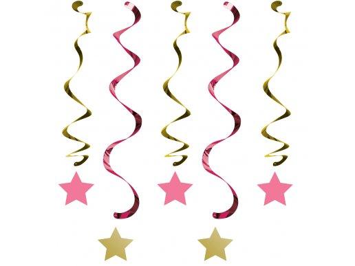 Twinkle Little Star Pink swirl decoration (5pcs)