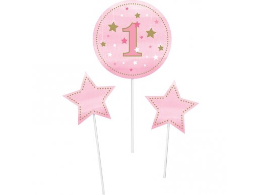 Twinkle Little Star Pink centerpiece sticks 3/pcs