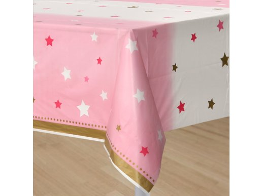 Twinkle Little Star Pink plastic tablecover