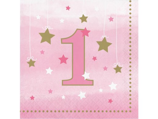 Twinkle Little Star Pink Luncheon Napkins for First Birthday 16/pcs