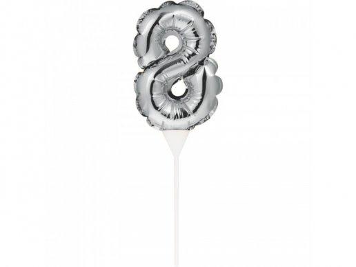 Μίνι Ασημί Foil Μπαλόνι Αριθμός 8