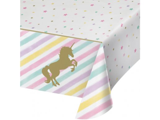 Unicorn with Stars Plastic Tablecover
