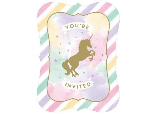 Unicorn with Stars Party Invitations 8/pcs