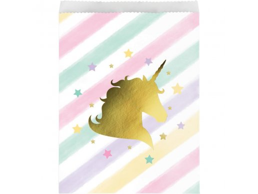 Unicorn with Stars Paper Treat Bags 10/pcs