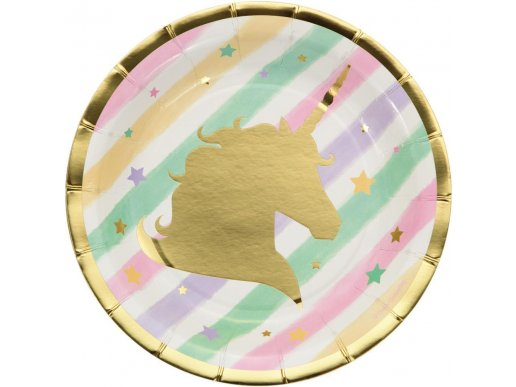 Unicorn with Stars Small Paper Plates (8pcs)