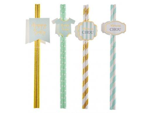 Monsieur Chou Mint & Gold Paper Straws for Baby Shower (8pcs)