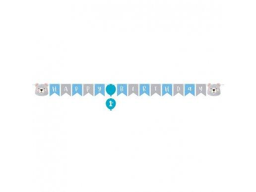 Blue Bear Happy Birthday Garland