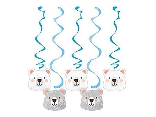 Μπλε Αρκούδος Διακοσμητικά Κρεμαστά Σπιράλ (5τμχ)