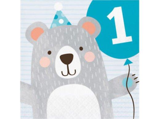 Blue Bear First Birthday Luncheon Napkins (16pcs)