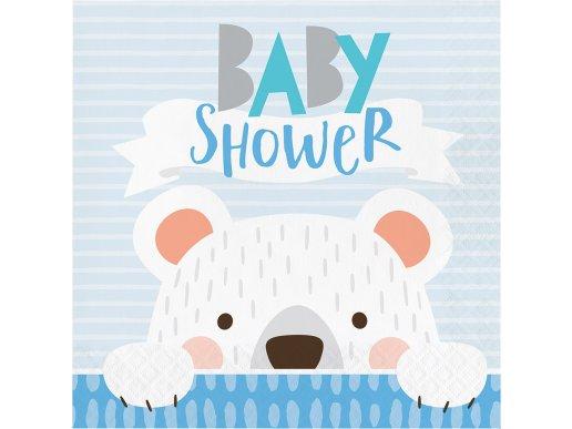 Μπλε Αρκούδος Χαρτοπετσέτες Για Baby Shower 16/Τμχ