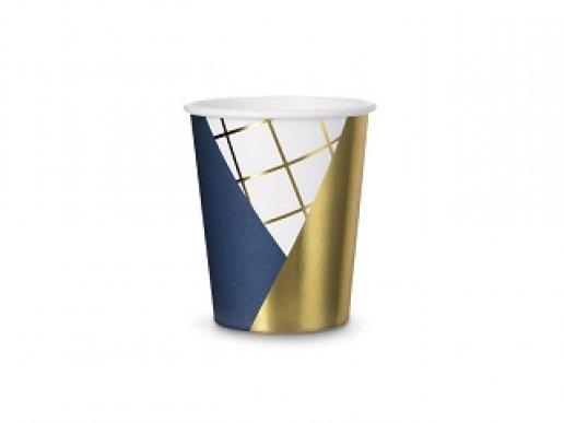 Μπλε-Χρυσό Ποτήρια Χάρτινα 6τμχ