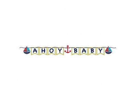 Navy theme Ahoy Baby garland