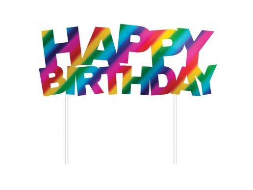 Ουράνιο Τόξο Happy Birthday Αξεσουάρ Για Τούρτα