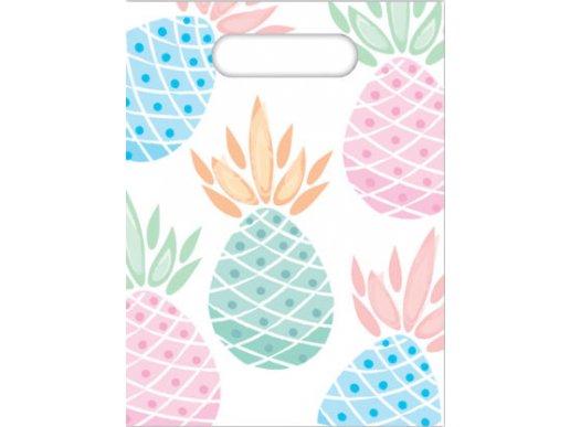 Pastel Pineapple Plastic Party Bags 6/pcs