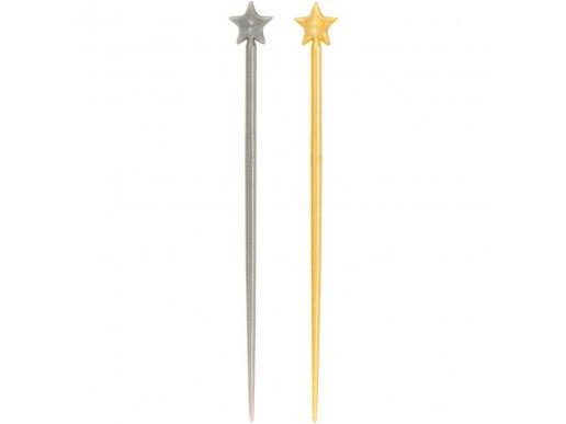 Διακοσμητικές Οδοντογλυφίδες Χρυσά & Ασημί Αστέρια 200/Τμχ