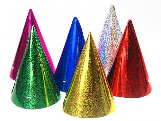 Multicolor Party Hats with Holographic Print 20/pcs
