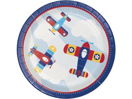 Πολύχρωμο Αεροπλάνο Μεγάλα Χάρτινα Πιάτα (8τμχ)