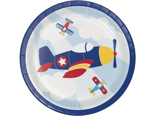 Πολύχρωμο Αεροπλάνο Μικρά Χάρτινα Πιάτα (8τμχ)