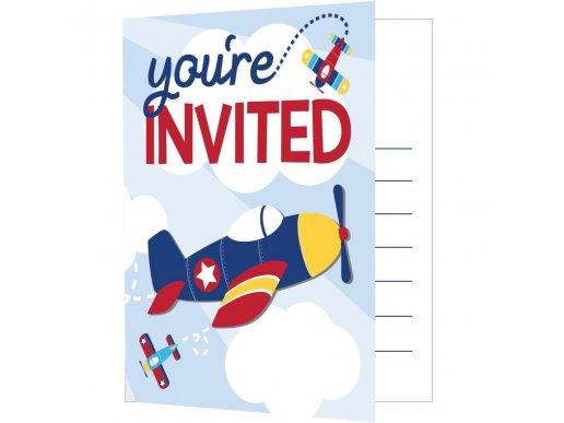 Multicolor Airplane Party Invitations (8pcs)