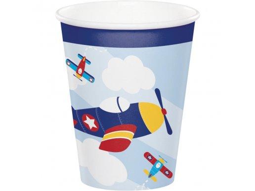 Πολύχρωμο Αεροπλάνο Χάρτινα Ποτήρια (8τμχ)
