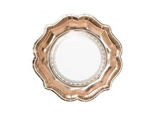 Porcelain Ροζ Χρυσά Μεγάλα Χάρτινα Πιάτα 12τμχ