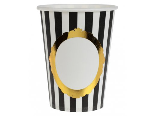Black & White Stripes Paper Cups with Gold Frame 10/pcs