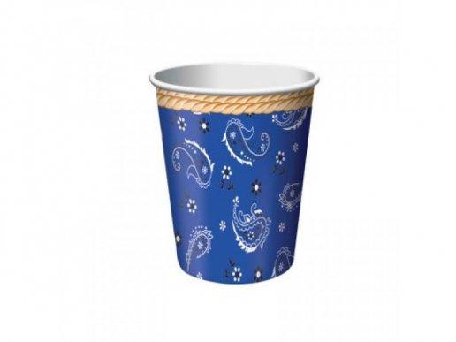 Ποτήρια Χάρτινα Μπλε Μπαντάνα 8τμχ