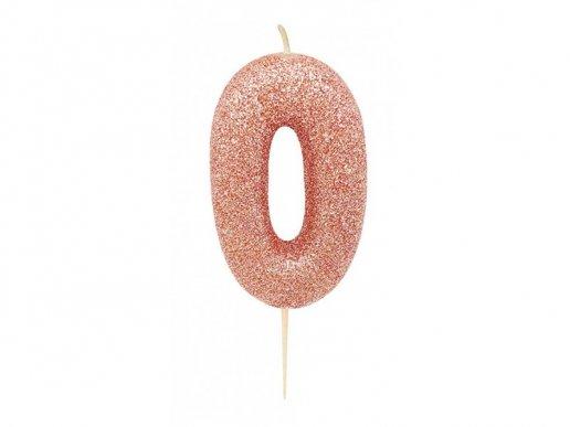 Αριθμός 0 Ροζ Χρυσό με Γκλίτερ Κερί για Τούρτα (6,5εκ)