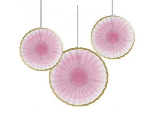 Ροζ Βεντάλιες Με Χρυσό Περίγραμμα 3/Τμχ