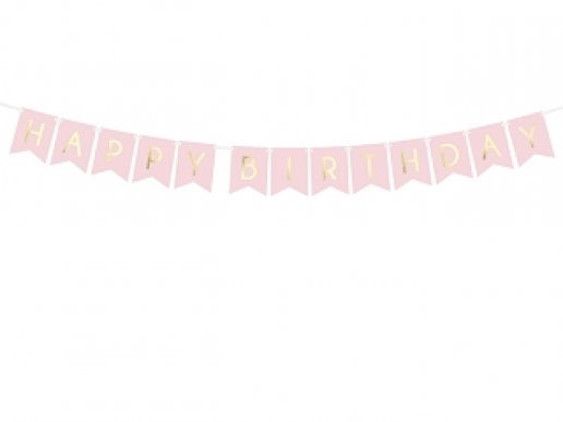 Ροζ Γιρλάντα Happy Birthday Με Χρυσοτυπία