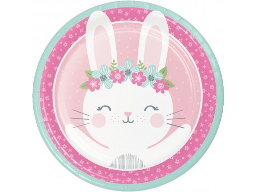 Pink Bunny Large Paper Plates (8pcs)